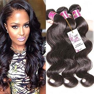 Unice Hair 22 20 18inch Brazilian Virgin Human Hair Weave 3 Bundles Deal Brazilian Body Wave Hair Weft Extensions Natural Color