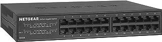 NETGEAR 24-Port Gigabit Ethernet Unmanaged Switch (GS324) - Desktop/Rackmount, Fanless Housing for Quiet Operation