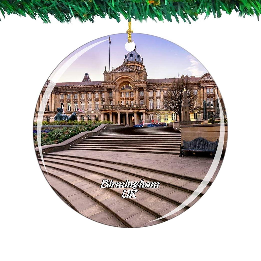 落ち着く喜んでドループWeekino イギリスイギリスビクトリアスクエアバーミンガムクリスマスオーナメントシティ旅行お土産コレクション両面 磁器2.85インチ ぶら下がっている木の装飾