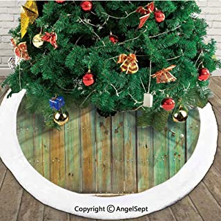 Rustic Old Wood Gate Dated Tuscany House Entrance with Antique Texture Photograph, Christmas Tree Skirt,Mint Brown,48 inches,New Year Christmas Party Holiday Decoration