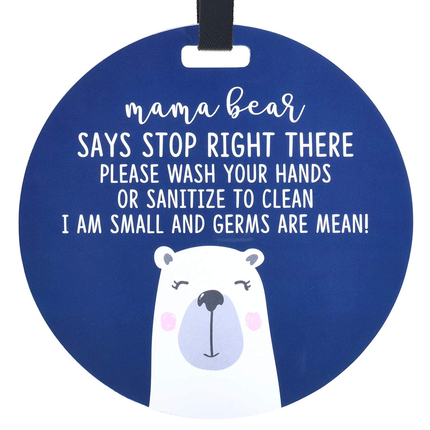THREE LITTLE TOTS – Mama Bear Sanitize and No Touching Baby Car Seat Sign or Stroller Tag - CPSIA Safety Tested
