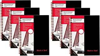 Black n' Red Twin Spiral Hardcover Notebook, Medium, Black/Red, 70 Ruled Sheets, Pack of 6 (L67000)