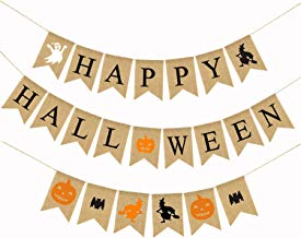 Halloween Banner, Listenman Happy Halloween Ghost Witch Pumpkin Bat Printed Burlap Bunting Banners for Indoor Outdoor Party Decoration