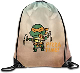 Boomy Fashion Teenage Turtles Pizza Drawstring Backpack For Men & Women Outdoor Gym Beach Hiking Use