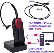 Panasonic KX-NT553, KX-NT556, KX-DT543, KX-DT546, KX-HDV230 Compatible Wireless Headset + Connect with Computer Too, Work with MS Lync, Skype