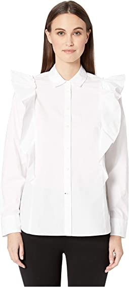 Broome Street Poplin Ruffle Shirt