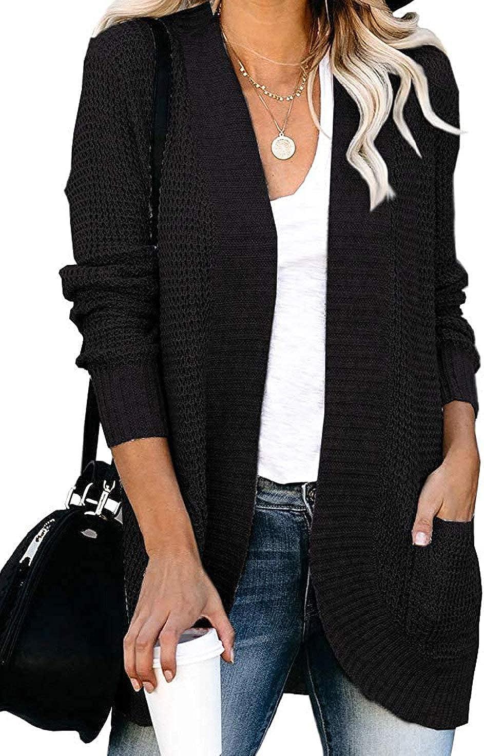 VIMPUNEC Womens Cable Cheap sale free shipping Knit Chunky Sleev Long Cardigans Boyfriend