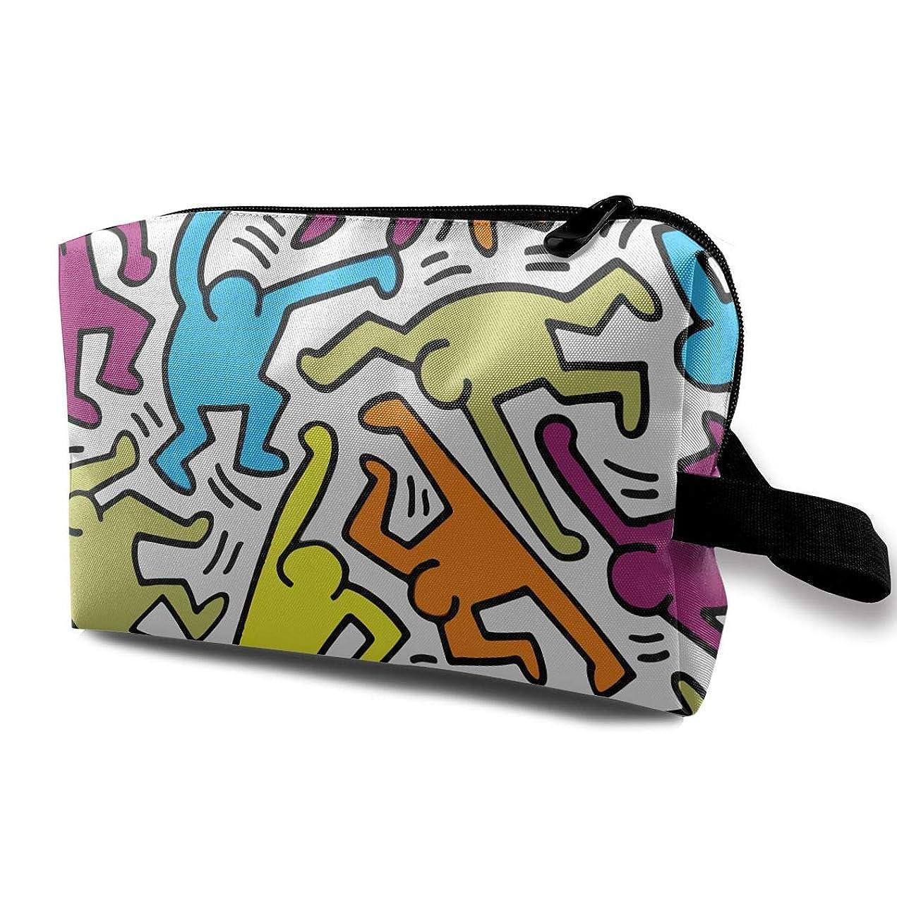 子犬ショッピングセンター粗いアート プリント Keith Haring カラフル 化粧ポーチ メイクポーチ コスメケース 洗面用具入れ 小物入れ 大容量 化粧品収納 コスメ 出張 海外 旅行バッグ 普段使い 軽量 防水 持ち運び