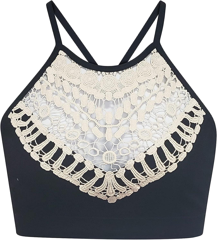 Women's Plus Size Bohemian Style Crochet Lace Design Bralette, Size XL