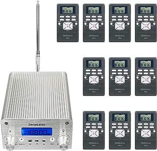 Retekess TR501 1W 6W FM Transmitter Long Range Wireless Listening Center with 10 PR13 FM Radio Receivers for Factory Church Classroom School