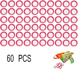 6MILES 60 PCS Safety EVA Foam Soft Refill Discs Bullet Darts Equipment Set for Nerf Vortex Blaster Praxis Nitron Vigilon Proton Ammo Toy Gun Parts Play Game (Red, 60pcs)