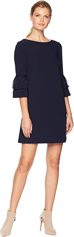 Stretch Crepe Sheath Dress with Feather Sleeve Detail
