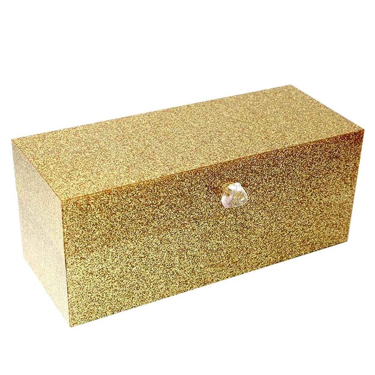 セレナラベル分類する整理簡単 口紅のアクリルの付属品を収納するための24のコンパートメントが付いている簡単な構造の貯蔵ふたが付いているオルガナイザー(金) (Color : Gold, Size : 23*9.5*9.2CM)