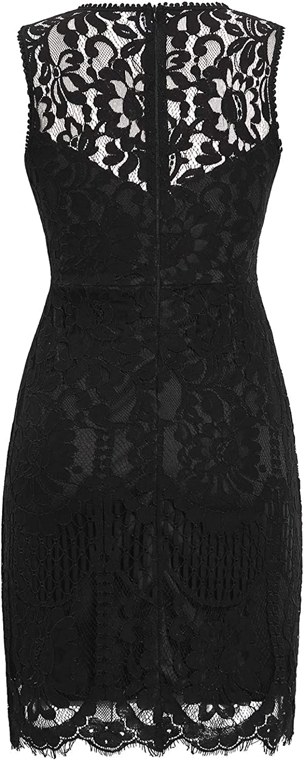 MSLG Women's Elegant Floral Lace Sleeveless Short Wedding Guest A-line Cocktail Party Dress 975