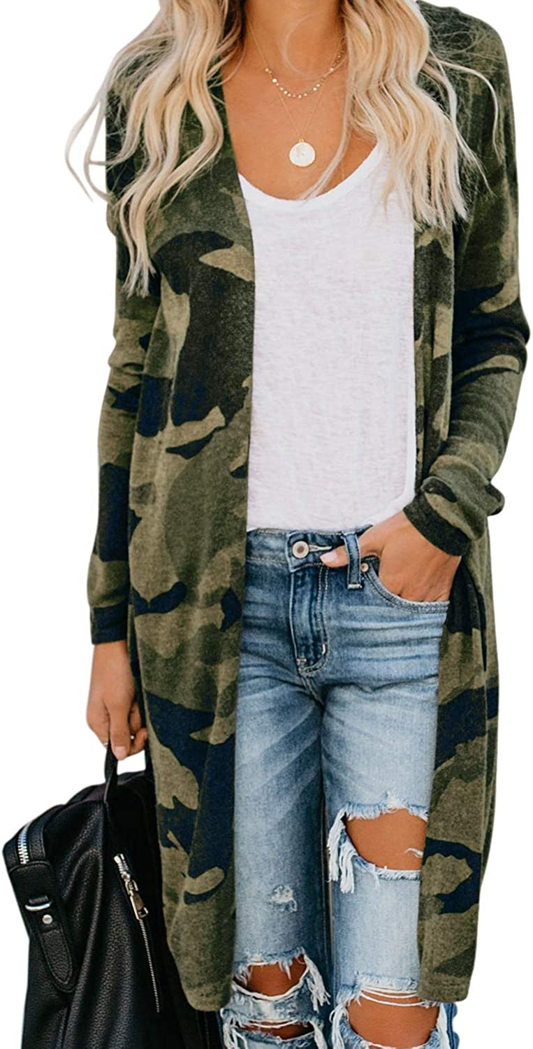 SEMARY Womens Open Front Long Sleeve Leopard Print Lightweight Soft Cardigan Casual Loose Outwear