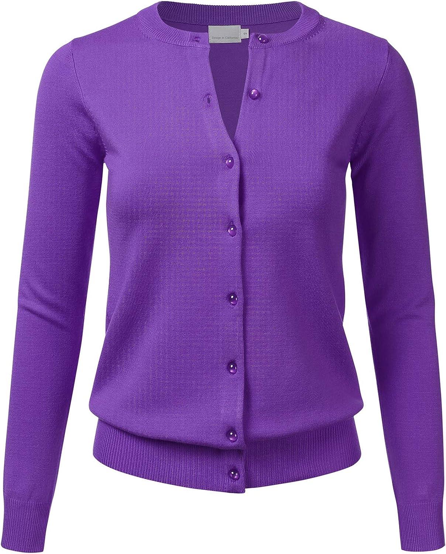 FLORIA Women's Gem Button Crew Neck Long Sleeve Soft Knit Cardigan Sweater Ultraviolet XL