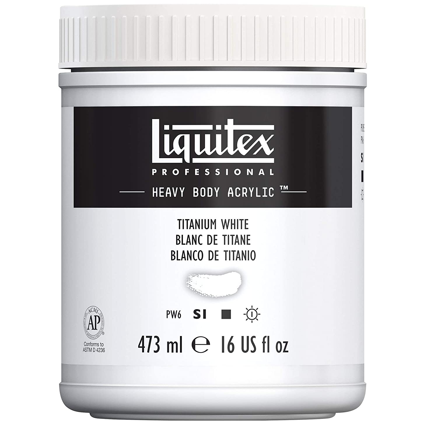 Liquitex Professional Heavy Body Acrylic Paint, 16-oz Jar, Titanium White