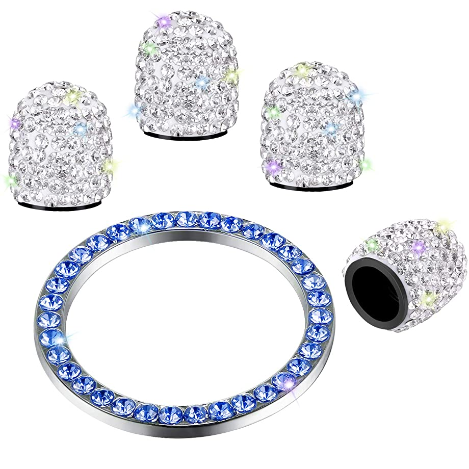 Valve Stem Caps 4 Pack Handmade Crystal Rhinestone Universal Tire Valve Dust Caps Bling Car Accessories with 1 Piece Ring Emblem Sticker for Auto Start Engine Ignition Button Key and Knobs (WhiteBlue)