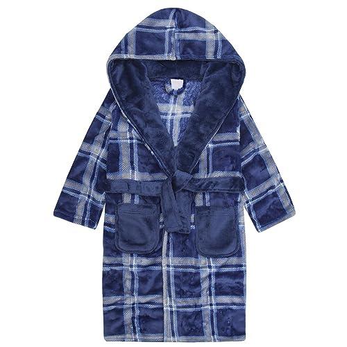 dcc61a39d3 4 KIDZ Boys Plaid Hooded Dressing Gown - Fluffy Fleece Robe