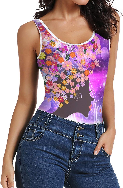 Women's Tank Top Flower Girl Heart Butterfly Bodysuits Scoop Neck Summer Racerback Camisole One Piece Leotard XS