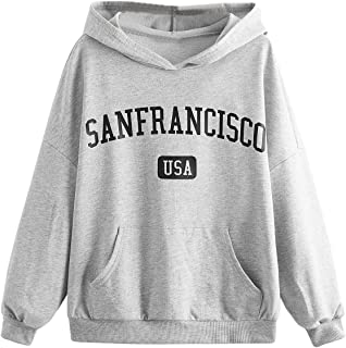 Sponsored Ad - SOLY HUX Girl's Letter Print Long Sleeve Hoodie Pocket Front Top Sweatshirt