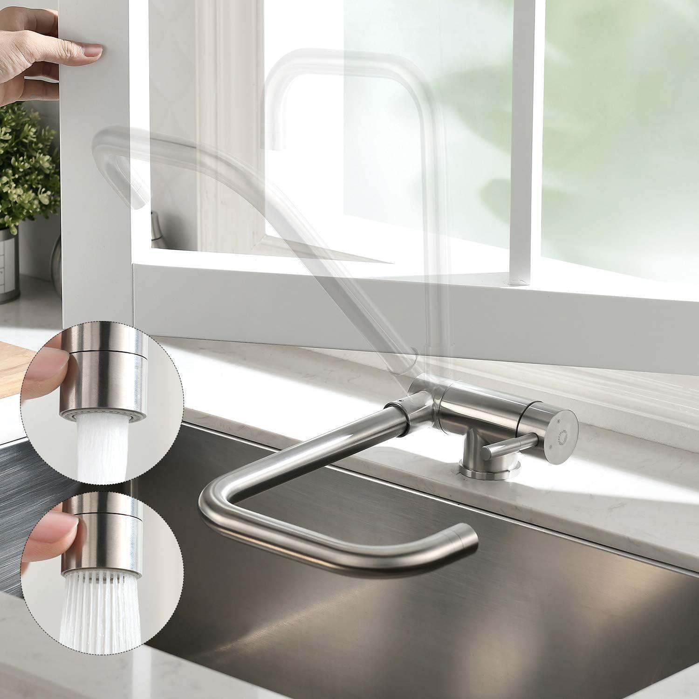 CECIPA 360° Grifo de cocina para fregadero Grifos montados en ventanas Grifos Cocinas Abatible Grifo Plegable para Cocina de Acero Inoxidable 304 Con 2 tipos de descarga de agua