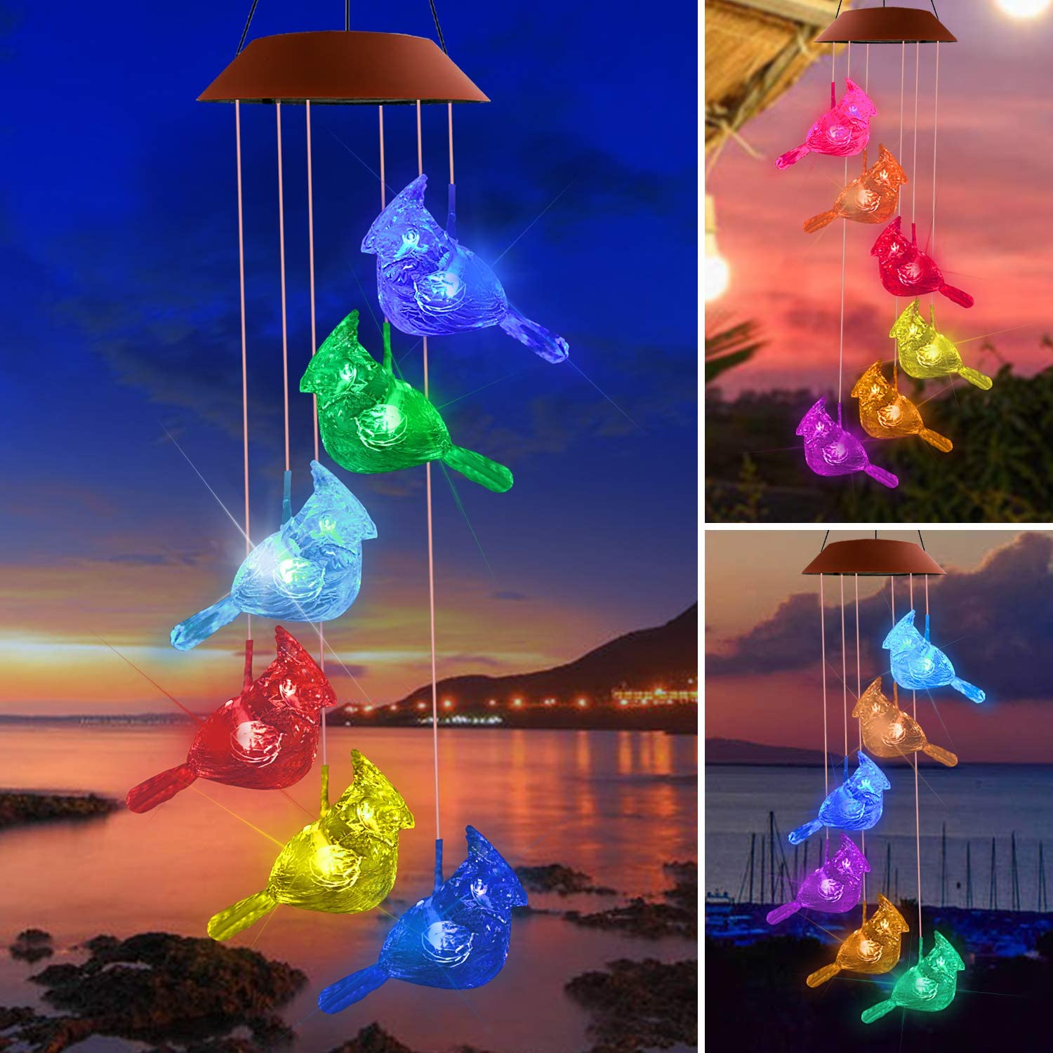 Lampelc Solar Wind Chimes, Cuckoo Wind Chime Outdoor, Color-Changing Outdoor Decoration LED Memorial Wind Chime Garden Decor, Yard Decor, Garden Gifts, Gifts for mom, Gifts for Grandma