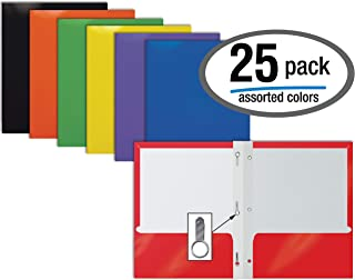 2 Pocket Glossy Laminated Paper Folders with Prongs, Assorted Colors, Letter Size, Paper Portfolios with 3 Metal Prong Fasteners, by Better Office Products, Box of 25-Assorted Colors (with prongs)