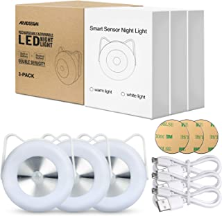 Motion Sensor LED Puck Lights, ARVIDSSON USB Rechargeable & Battery Powered Wireless Under Cabinet Lighting, Magnetic Clos...
