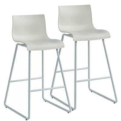 Set of 2 White Contemporary Counter Stools with Plastic Seat 35.25""