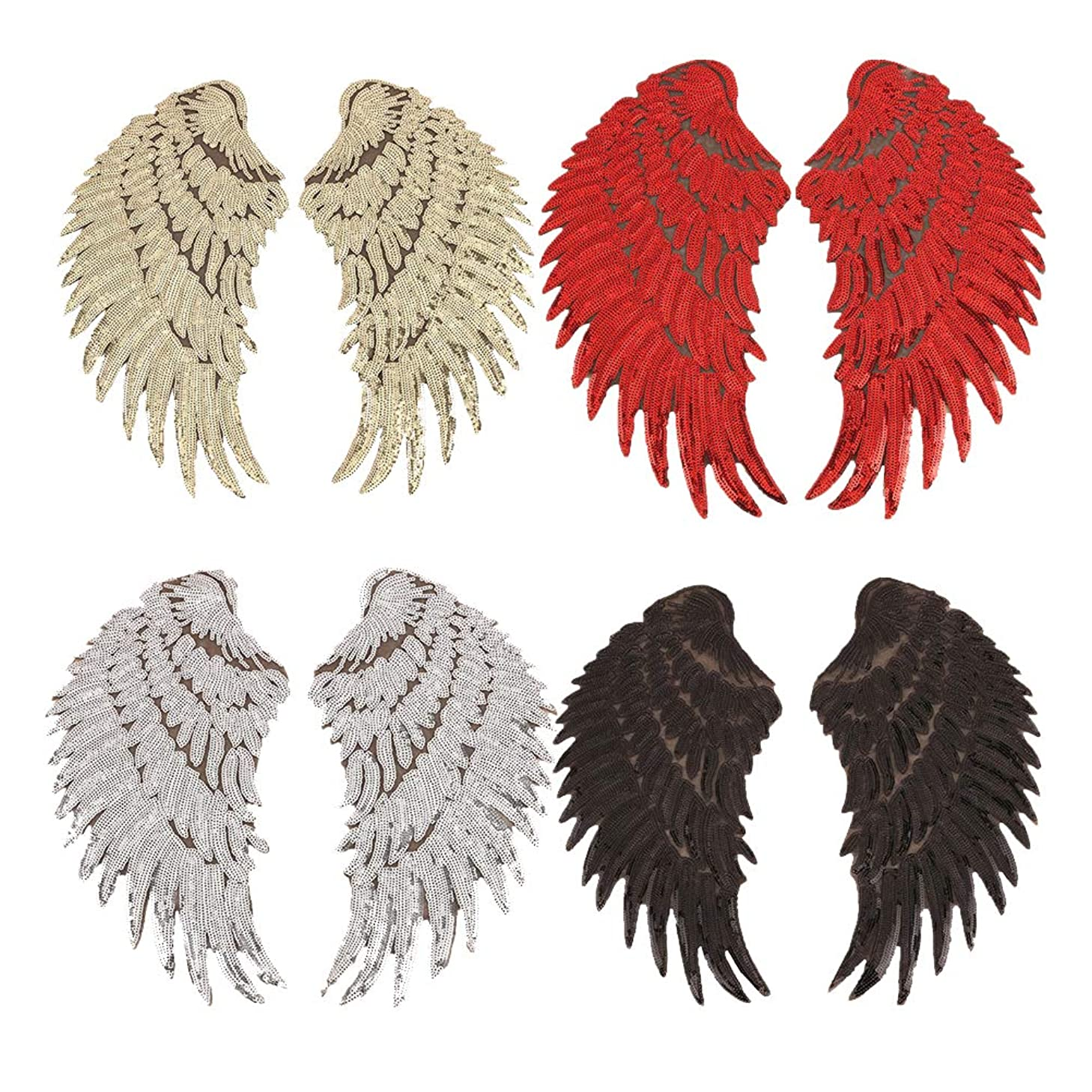 Lwestine 4 Pair Sequins Angel Wings Iron On Patch DIY Embroidered Applique Bling Wings for Jackets Cloth Decoration Valentine's Day Gifts