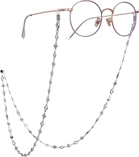 سلسلة دائرية حامل النظارات للنساء قلادة طويلة اكسسوارات الموضة (فضية)