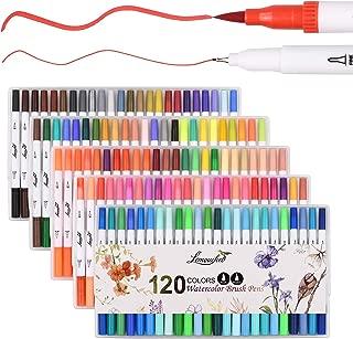 L'émouchet 水彩毛筆 カラー筆ペン 120色セット 水彩ペン アートマーカー 水性 両端ペン先 塗り絵、落書き、イラスト、メモ、手帳適用 子供/大人向け 収納ケース、二本指グローブ、無色水性ペン付き