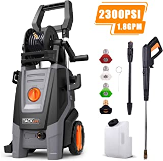 TACKLIFE 2300 PSI Electric Pressure Washer 1.8 GPM with Detergent Tank, 4 Nozzles and Automatic Stop Function, 360 ° Easy to Remove Dirt, Great for Cleaning Car, Yard, Garden, Barbecue