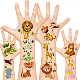 Leesgel Jungle Theme Party Supplies, Temporary Tattoos for Kids Tattoos, Wild One Safari Birthday Decorations Zoo Animal B...