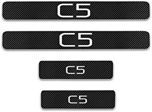 For C5 4D M Car Pedal Covers Door Sill Entry Guard Scuff Plate Cover Anti Scratch Carbon Fiber sticker Protect Kick Plates Performance Styling 4Pcs White