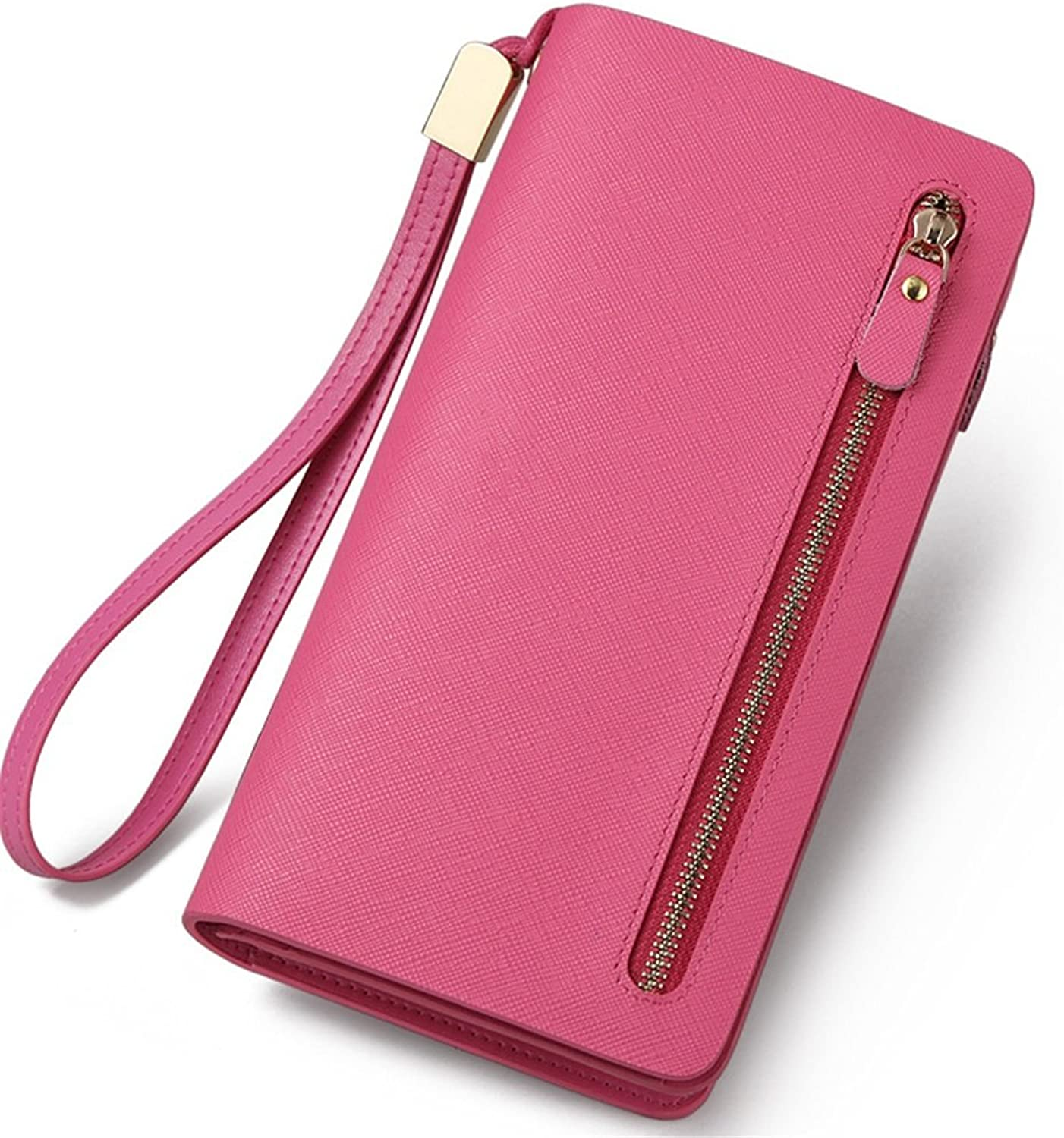 Women's Wallet Women's Wallet Women's Long Leather Zipper Purse Pink pink Red Dark bluee Multicolor Choice Practical Personality Splicing Large Capacity Wallet (color   Red)