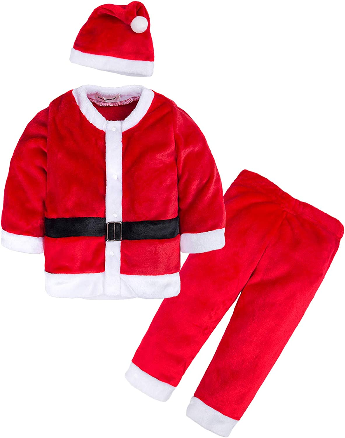 AGUDAN Boys & Girls Unisex 2 Pieces Shirt & Pant Christmas Romper Jumpsuit Pajamas Long Sleeve Outfit Xmas Clothes with Hat