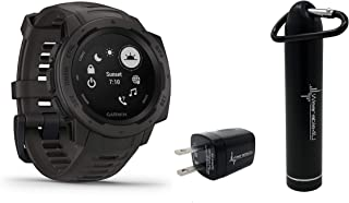 Garmin Instinct Rugged GPS Watch with Included Wearable4U Compact Power Pack Bundle (Graphite)