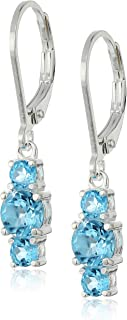 Sterling Silver Genuine and Created Gemstone Three Stone Birthstone Leverback Dangle Earrings