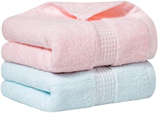 E ENASUE 2 Pack Cotton Hand Towels, Highly Absorbent and Super Soft Hand Towel for Bathroom, 14 x 30 Inches (Blue, Pink)