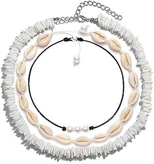 FENBORY Natural Puka Chips Shell Necklace Pearl Choker Handmade Hawaiian Moana Dried Flower Necklace for Women Men