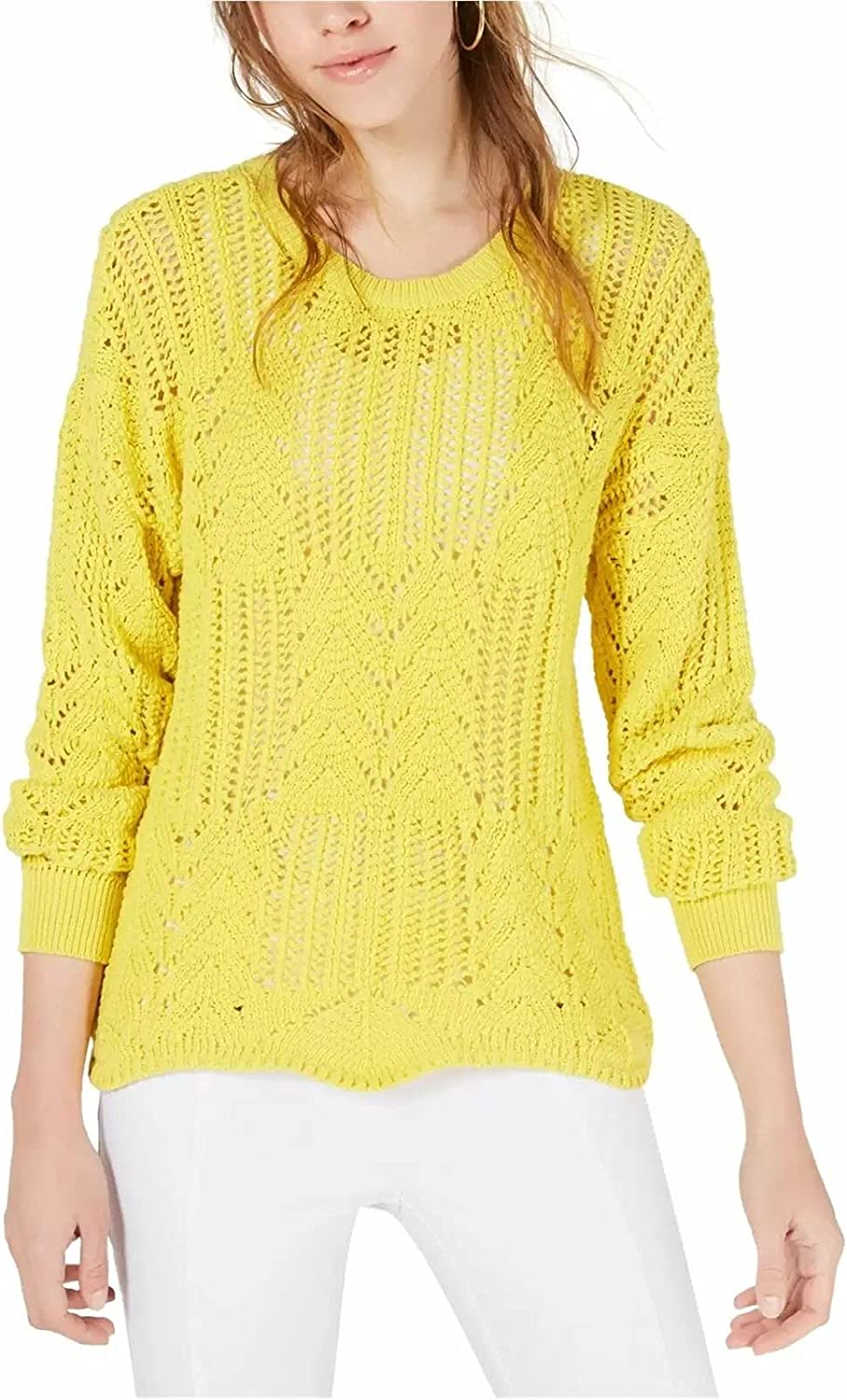 bar III Womens Pointelle Knit Pullover Sweater