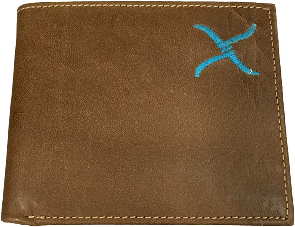 Twisted X Brown Leather Wallet with Turquoise X