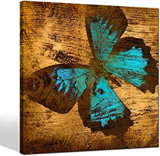 LevvArts - Teal Butterfly on Wooden Background Picture Canvas Print Vintage Artwork Animal Painting Wall Art for Living Room Bedroom Decor Gallery Wrapped Ready to Hang