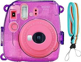 SAIKA Crystal Case for Fujifilm INSTAX Mini 9 Instant Camera (Grape) with Adjustable Shoulder Strap