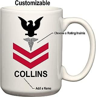 U.S. Navy Customizable Rank Insignia Ceramic Coffee/Cocoa Mug by Carpe Diem Designs, Made in the U.S.A.