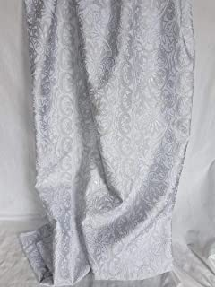 Tessuto in seta jacquard con motivi ornamentali in rilievo tono in tono color argento (Gallery col.1)
