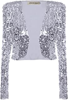 Womens Shiny Sequin Long Sleeve Cropped Blazer Bolero Shrug