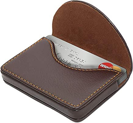 Storite Leather Pocket Sized Stitched Business/Credit/Debit Card Holder Wallet for Gift – Coffee Brown